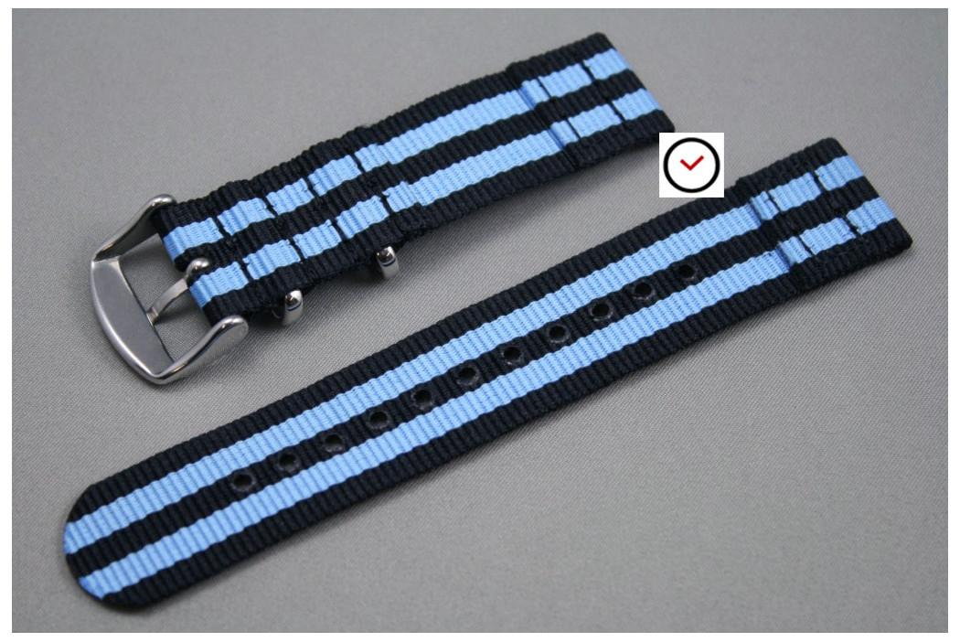 Bracelet montre NATO 2 pièces Bond Noir Bleu
