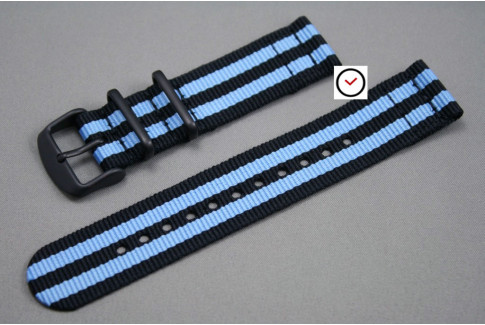 Black Blue James Bond 2 pieces NATO strap, PVD buckle and loops (black)