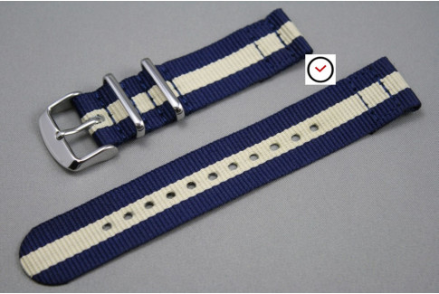 Navy Blue Sandy Beige 2 pieces NATO strap (nylon)