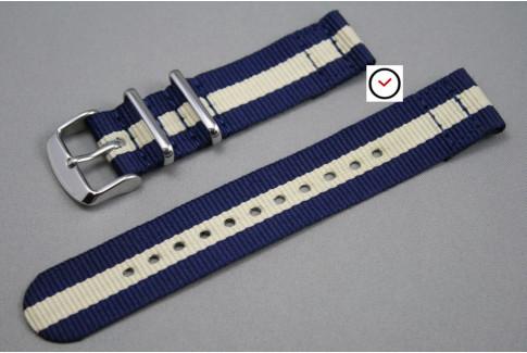 Navy Blue Sandy Beige 2 pieces NATO strap (nylon)