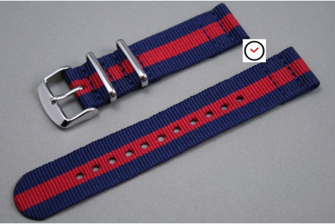 Bracelet montre NATO 2 pièces Bleu Navy Rouge