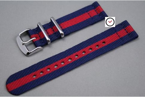 Navy Blue Red 2 pieces NATO strap (nylon)