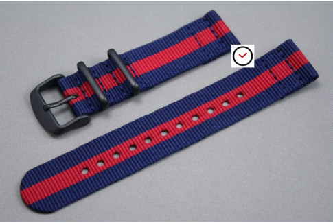 Navy Blue Red 2 pieces NATO strap, PVD buckle and loops (black)