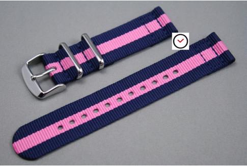 Bracelet montre NATO 2 pièces Bleu Navy Rose