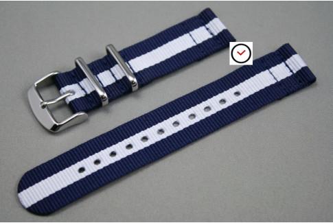 Bracelet montre NATO 2 pièces Bleu Navy Blanc