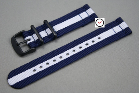Navy Blue White 2 pieces NATO strap, PVD buckle and loops (black)