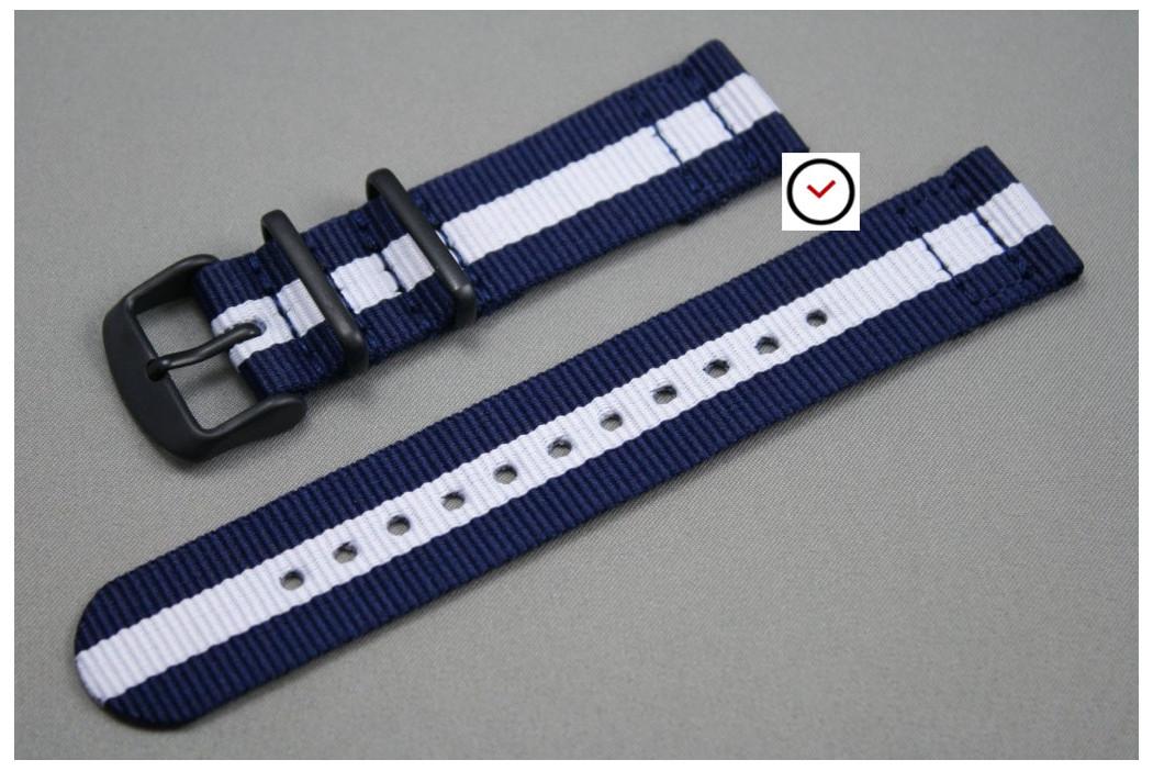 Bracelet montre NATO 2 pièces Bleu Navy Blanc, boucle PVD (noire)