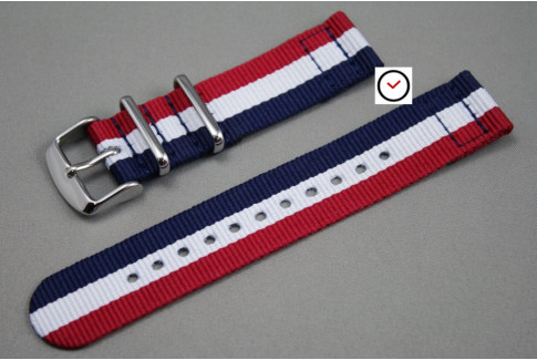 Blue White Red (French flag) 2 pieces NATO strap (nylon)