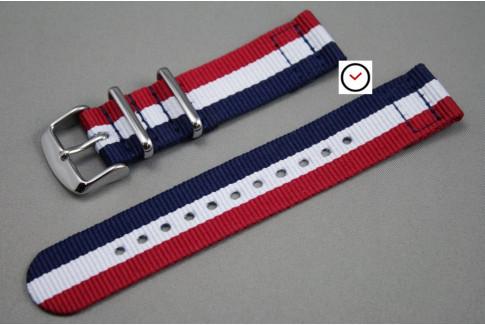 Bracelet montre NATO 2 pièces Tricolore Bleu Blanc Rouge
