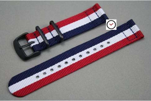 Bracelet montre NATO 2 pièces Tricolore Bleu Blanc Rouge, boucle PVD (noire)