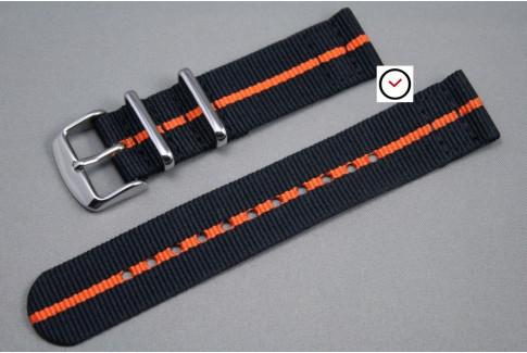 Bracelet montre NATO 2 pièces Noir liseré Orange