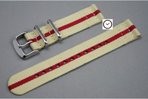 Bracelet montre NATO 2 pièces Sable liseré Rouge