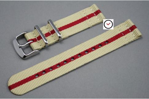 Sandy Beige Red 2 pieces NATO strap (nylon)