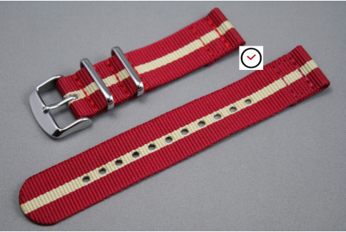 Red Sandy Beige 2 pieces NATO strap (nylon)