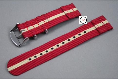 Bracelet montre NATO 2 pièces Rouge liseré Sable