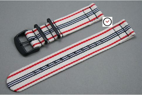 Bracelet montre NATO 2 pièces Blanc Rouge Noir, boucle PVD (noire)