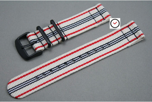White Red Black 2 pieces NATO strap, PVD buckle and loops (black)