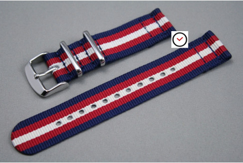 Navy Blue Red Off-White 2 pieces NATO watch strap (nylon)