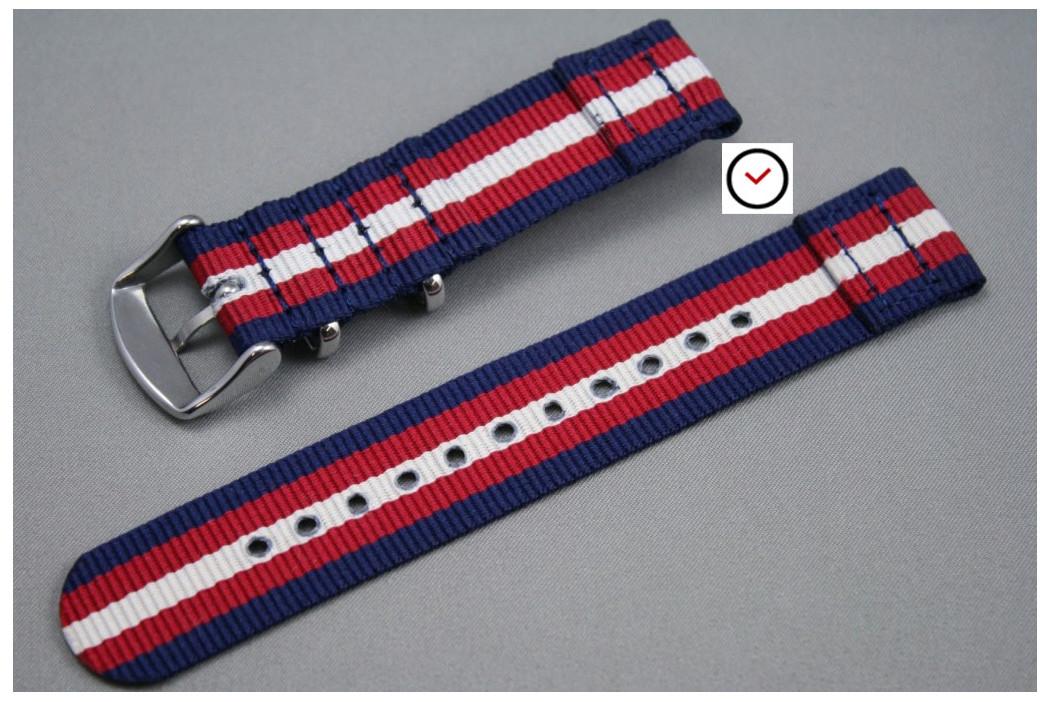 Bracelet montre NATO 2 pièces Bleu Navy Rouge Blanc écru