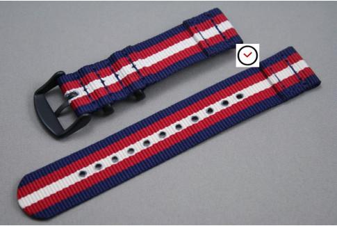 Bracelet montre NATO 2 pièces Bleu Navy Rouge Blanc écru, boucle PVD (noire)