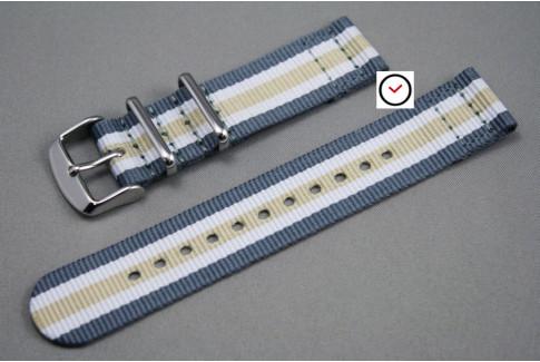 Bracelet montre NATO 2 pièces Gris Blanc Beige Sable