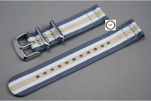 Grey White Sandy Beige 2 pieces NATO watch strap (nylon)
