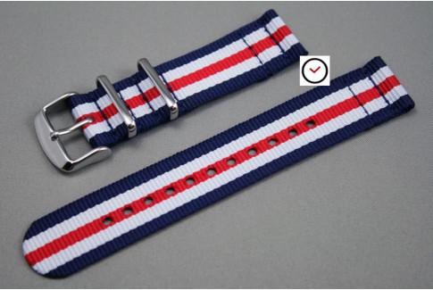 Bracelet montre NATO 2 pièces Double Bleu Blanc Rouge