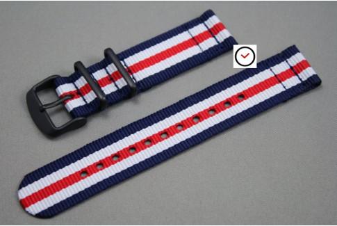 Bracelet montre NATO 2 pièces Double Bleu Blanc Rouge, boucle PVD (noire)