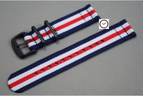 Double Blue White Red 2 pieces NATO strap, PVD buckle and loops (black)