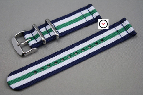Bracelet montre NATO 2 pièces Bleu Navy Blanc Vert
