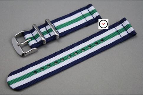 Navy Blue White Green 2 pieces NATO watch strap (nylon)