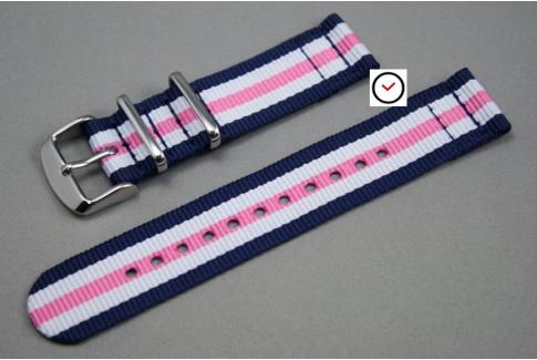 Bracelet montre NATO 2 pièces Bleu Navy Blanc Rose