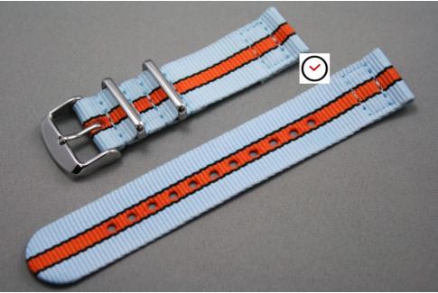 Bracelet montre NATO 2 pièces Gulf / Le Mans (Bleu Ciel Orange Noir)