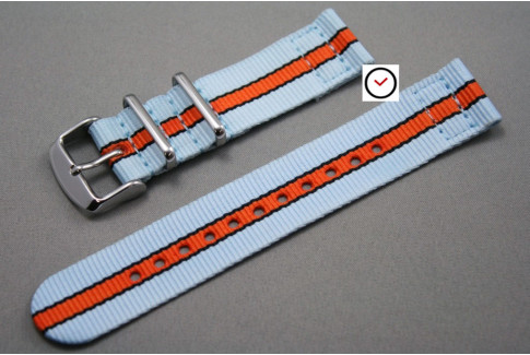 Gulf / Le Mans 2 pieces NATO watch strap (Blue Orange Black)