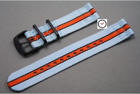 Bracelet montre NATO 2 pièces Gulf / Le Mans (Bleu Ciel Orange Noir), boucle PVD (noire)