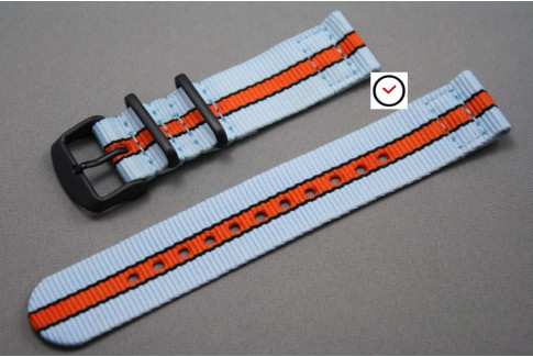 Gulf / Le Mans 2 pieces NATO watch strap (Blue Orange Black), PVD buckle and loops (black)