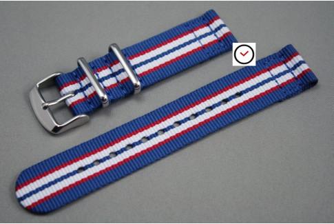 Blue Red White 2 pieces NATO watch strap (nylon)