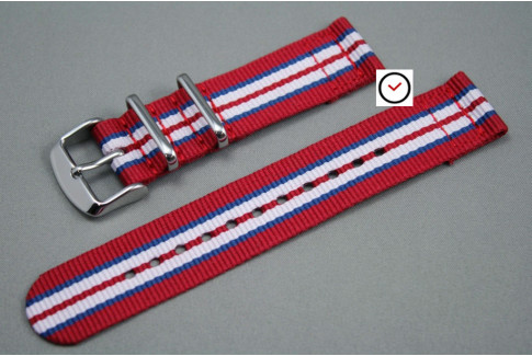 Bracelet montre NATO 2 pièces Rouge Bleu Blanc