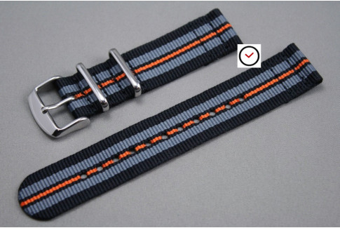 Black Grey Orange 2 pieces NATO strap (nylon)
