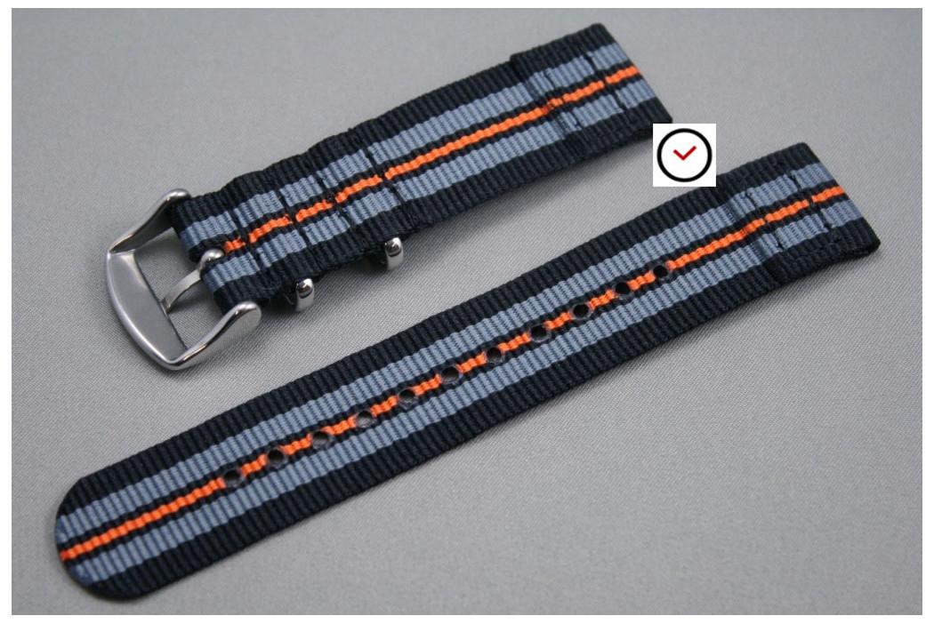Bracelet montre NATO 2 pièces Noir Gris Orange