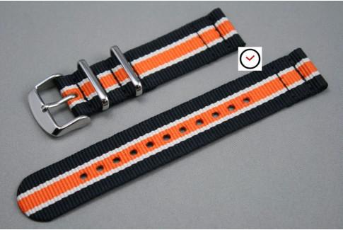 Bracelet montre NATO 2 pièces Noir Blanc Orange