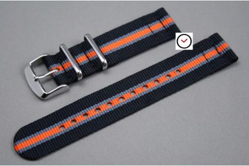Bracelet montre NATO 2 pièces Héritage Noir Gris Orange