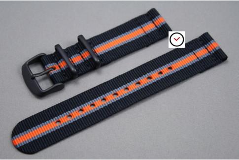 Bracelet montre NATO 2 pièces Héritage Noir Gris Orange, boucle PVD (noire)