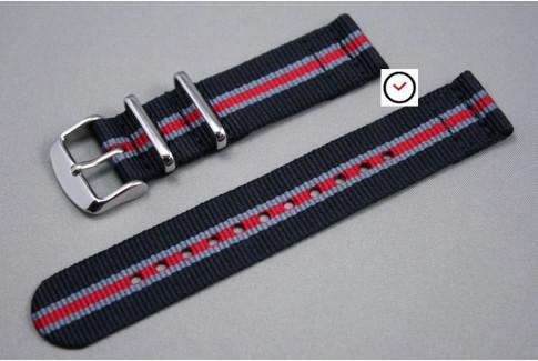 Bracelet montre NATO 2 pièces Héritage Noir Gris Rouge