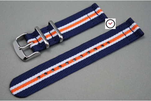 Blue White Orange Heritage 2 pieces NATO strap (nylon)