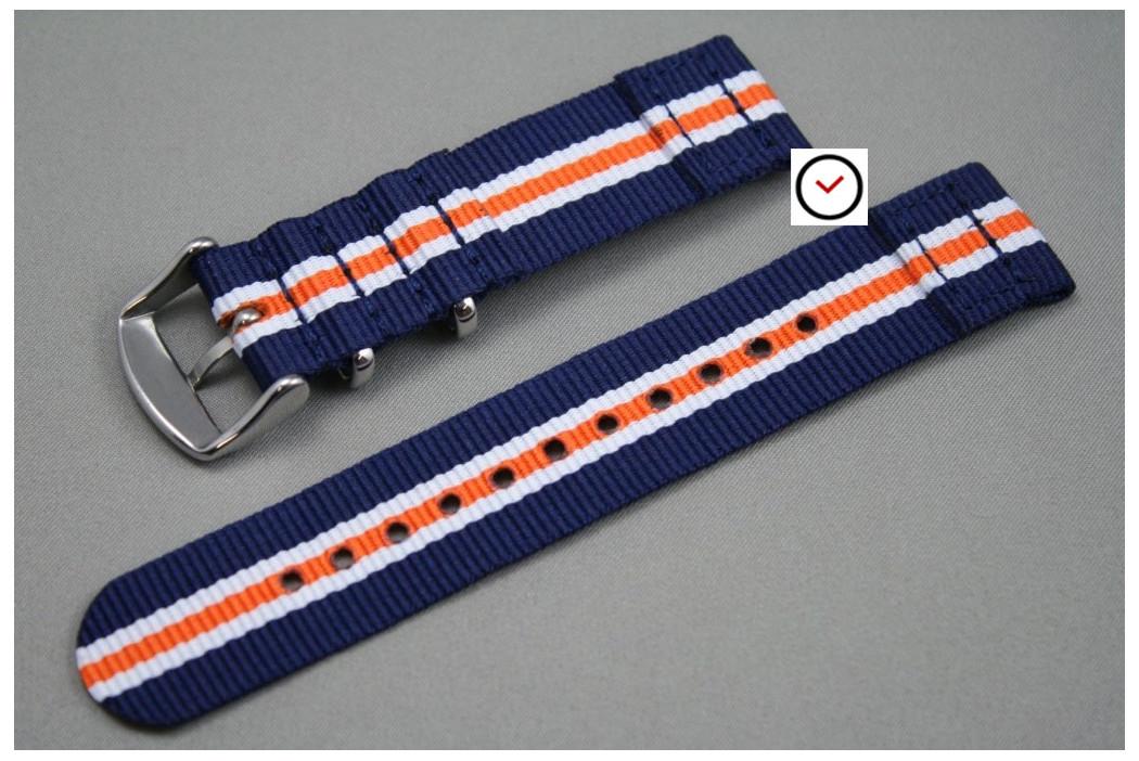 Bracelet montre NATO 2 pièces Héritage Bleu Navy Blanc Orange