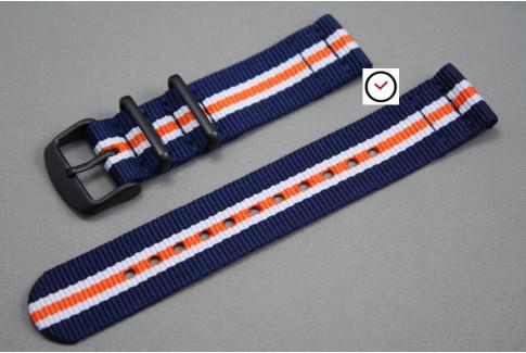 Bracelet montre NATO 2 pièces Héritage Bleu Navy Blanc Orange, boucle PVD (noire)
