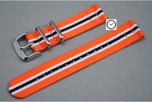Bracelet montre NATO 2 pièces Héritage Orange Blanc Noir
