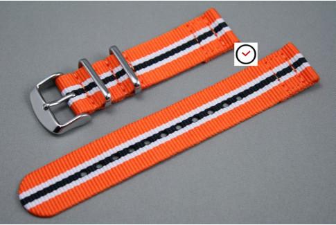 Orange White Black Heritage 2 pieces NATO strap (nylon)