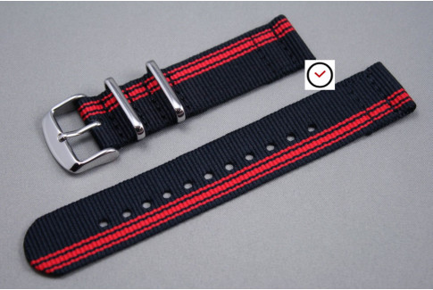 Black Red Ducati 2 pieces NATO strap (nylon)